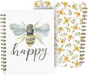Bumblebee Be Happy Spiral Notebook (120 Lined Pages) from Primitives by Kathy