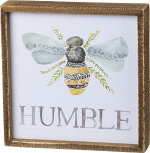 Bumblebee Be Humble Decorative Inset Wooden Box Sign 8x8 from Primitives by Kathy