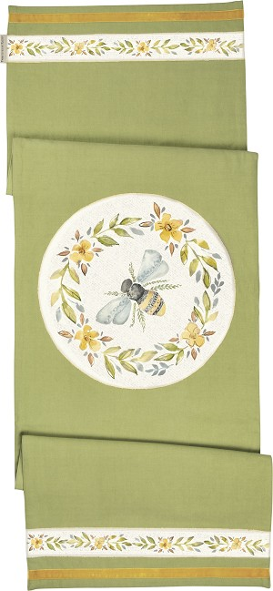 Watercolor Art Bumblebee Theme Decorative Cotton Table Runner Cloth 52x15 from Primitives by Kathy