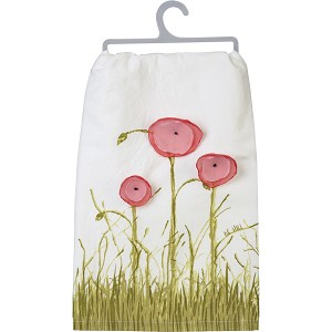 Flower Themed Be Still Cotton Dish Towel 28x28 from Primitives by Kathy