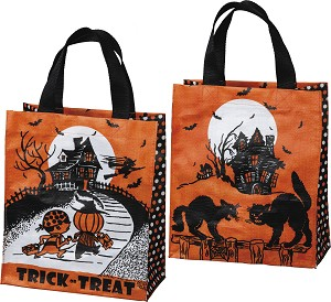 Haunted House Trick Or Treat Halloween Double Sided Tote Bag from Primitives by Kathy