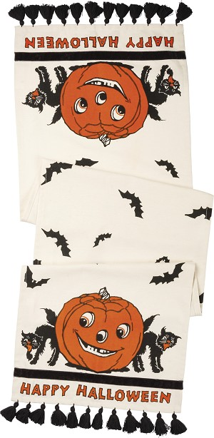 Happy Halloween Tassel Trim Decorative Cotton Table Runner Cloth 56x15 from Primitives by Kathy