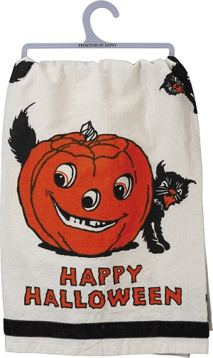 Pumpkin & Black Cat Happy Halloween Cotton Dish Towel 28x28 from Primitives by Kathy