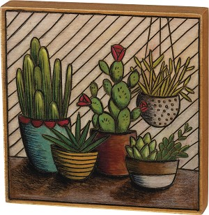 Cactus Themed Decorative Woode Burned Block Sign from Primitives by Kathy
