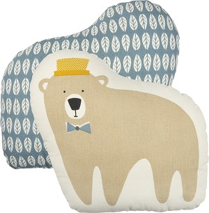 Bear Design Double Sided Cotton Nursery Pillow 14.5x13.5 from Primitives by Kathy