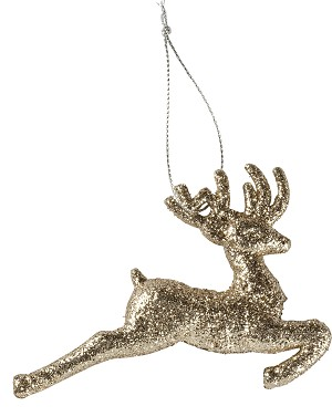 Gold Glitter Leaping Deer Hanging Christmas Ornament 4 Inch from Primitives by Kathy