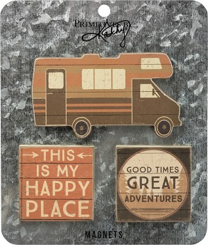 Set of 3 Camping Themed Refrigerator Magnets from Primitives by Kathy