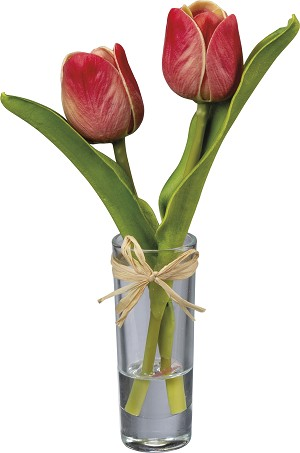 Small Glass Vase With Artificial Red Mini Tulip Botanicals from Primitives by Kathy