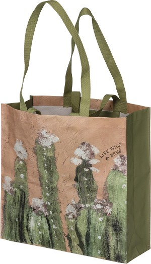 Cactus Themed Live Wild & Free Double Sided Market Tote Bag from Primitives by Kathy