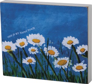 Diasy Field This Is My Happy Place Decorative Wooden Block Sign 7x6 from Primitives by Kathy