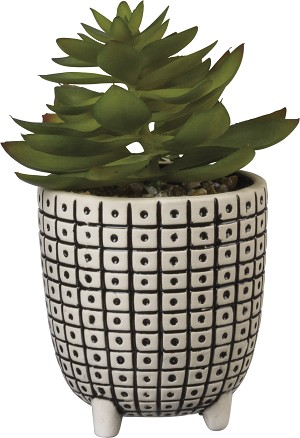 Replicated Square & Dot Pattern Stoneware Planter from Primitives by Kathy