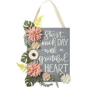 Start Each Day With A Grateful Heart Decorative Hanging Wall Décor Sign 8x10 from Primitives by Kathy