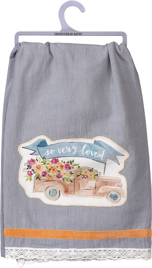 Floral Truck So Very Loved Cotton Dish Towel 28x28 from Primitives by Kathy