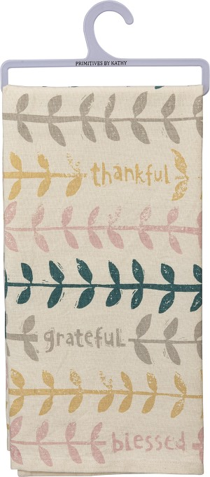Thankful Grateful Blessed Cotton Dish Towel 20x26 from Primitives by Kathy