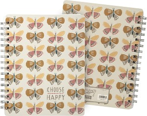 Choose Happy Spiral Notebook (120 Lined Pages) from Primitives by Kathy