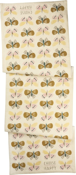Butterfly Design Choose Happy Decorative Cotton Table Runner Cloth 52x15 from Primitives by Kathy