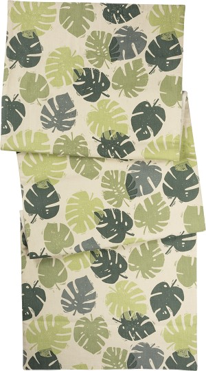Monstera Leaf Decorative Cotton Table Runner Cloth 52x15 from Primitives by Kathy