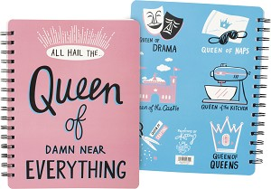 Queen Of Damn Near Everything Spiral Notebook (120 Lined Pages) from Primitives by Kathy