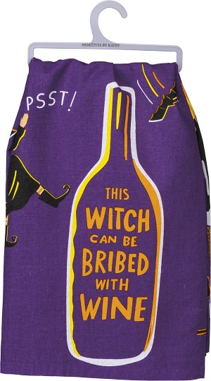 This Witch Can Be Bribed With Wine Colorful Cotton Dish Towel 28x28 from Primitives by Kathy