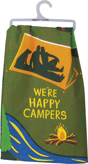 We're Happy Campers Cotton Dish Towel 28x28 from Primitives by Kathy