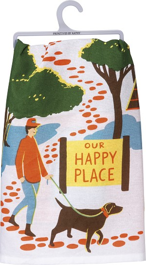 Dog Lover Our Happy Place Cotton Dish Towel 28x28 from Primitives by Kathy