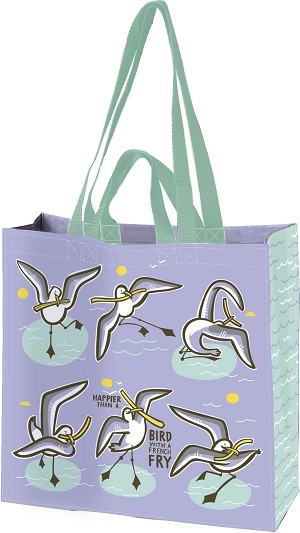 Happier Than A Bird With French Fry Double Sided Market Tote Bag from Primitives by Kathy
