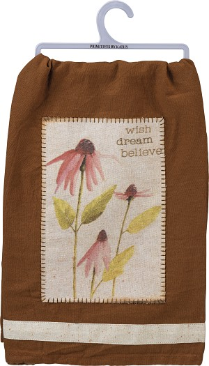 Floral Design Wish Dream Believe Cotton Dish Towel 28x28 from Primitives by Kathy