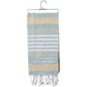 The Beach Is My Happy Place Striped Cotton Dish Towel 20x28 from Primitives by Kathy