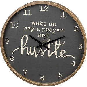 Wake Up Say A Prayer And Hustle Decorative Wall Clock from Primitives by Kathy