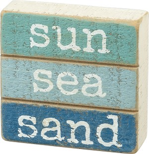 Sun Sea Sand Decorative Slat Wood Box Sign 3x3 from Primitives by Kathy