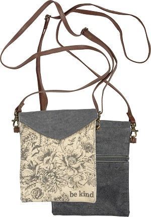 Floral Design Be Kind Canvas Crossbody Handbag Purse from Primitives by Kathy