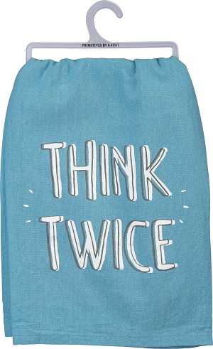 Think Twice Cotton Dish Towel 28x28 from Primitives by Kathy