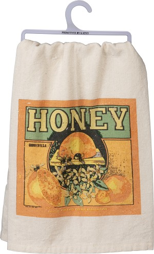 Honey Bee Grown In USA Cotton Dish Towel 28x28 from Primitives by Kathy