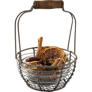 Mini Wire Egg Basket With Top Wooden Handle from Primitives by Kathy