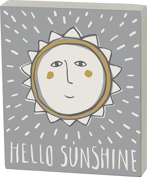 Hello Sunshine Decorative Wooden Block Sign 5x6 from Primitives by Kathy