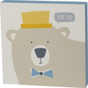Blue Palette Love You Bear Decorative Wooden Block Sign 6x6 from Primitives by Kathy