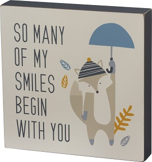 So Many Of My Smiles Begin With You Decorative Wooden Box Sign 10x10 from Primitives by Kathy