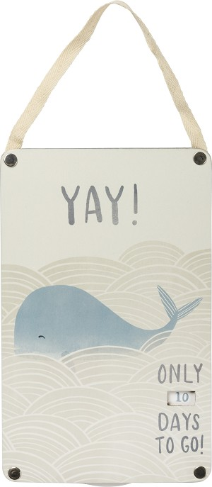 Blue Whale Design Days To Go New Baby Nursery Countdown Sign from Primitives by Kathy