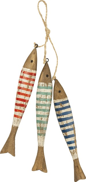 Set of 3 Striped Fish Beach Themed Wooden Hanging Wall Décor from Primitives by Kathy