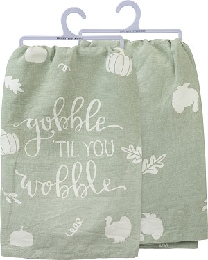 Pumpkin & Leaf Design Gobble 'Til You Wobble Cotton Dish Towel 28x28 from Primitives by Kathy