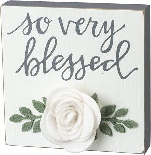 So Very Blessed Decorative Wooden Block Sign 5x5 from Primitives by Kathy
