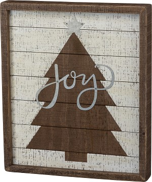 Brown Christmas Tree Joy Inset Slat Wood Box Sign 12x14 from Primitives by Kathy