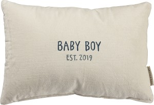 Baby Boy 2019 Velvet Throw Pillow 15x10 from Primitives by Kathy