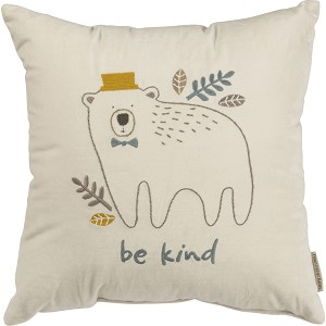 Bear & Leaf Design Be Kind Decorative Velvet Throw Pillow 16x16 from Primitives by Kathy