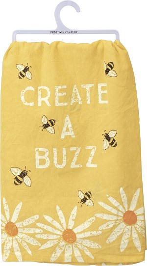 Create A Buzz Cotton Dish Towel 28x28 from Primitives by Kathy
