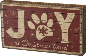 Dog Lover Pawprint Joy At Christmas Time Decorative Wooden Block Sign 7x4 from Primitives by Kathy