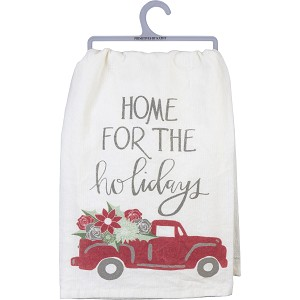Christmas Tree Truck Home For The Holidays Cotton Dish Towel 28x28 from Primitives by Kathy