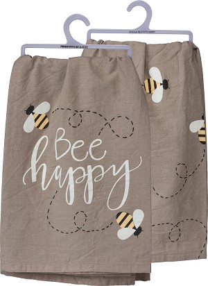 Bee Happy Flying Bumblebees Cotton Dish Towel 28x28 from Primitives by Kathy