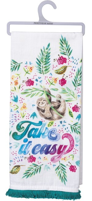 Sloth & Floral Design Take It Easy Cotton Dish Towel 18x28 from Primitives by Kathy