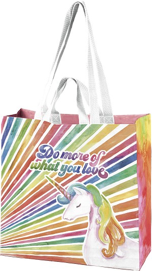 Unicorn Rainbow Do More Of What You Love Double Sided Market Tote Bag from Primitives by Kathy
